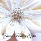 10 Round Circle Diamante Rhinestone Crystal Button Hair Flower Clip Wedding Invitation Ring BT034