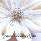 20 Round Circle Diamante Rhinestone Crystal Button Hair Flower Clip Wedding Invitation Ring BT034