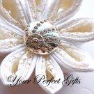 10 Round Circle Diamante Rhinestone Crystal Button Hair Flower Clip Wedding Invitation Ring BT030