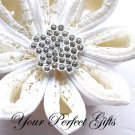 "50 Fancy 1"" Diamante Rhinestone Crystal Button Hair Flower Clip Wedding Invitation Ring Pillow BT043"