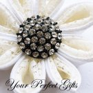 1 pc Round 28mm Diamante Rhinestone Crystal Button Wedding Invitation Black Silver BT017