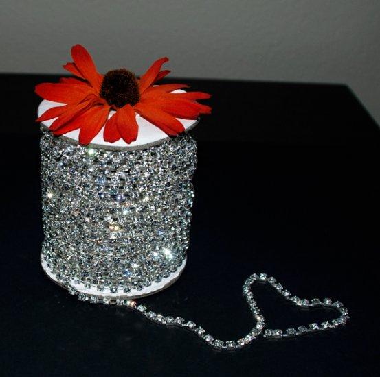 30 Feet/10 Yard SS6 2.1mm Rhinestone Chain Crystal Silver Pleated Wedding Cake Banding Jewelry RC001