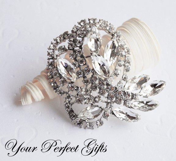 1 pc 62mm Flower Rhinestone Crystal Diamante Silver Brooch Pin Jewelry Cake Decoration BR061