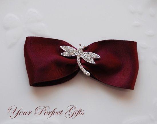100 Dragonfly Silver Rhinestone Crystal Buckle Slider Wedding Invitation Bouquet jewelry BK092