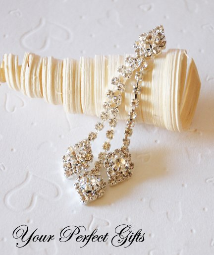 Rhinestone Crystal Dangling Drop silver for Bridal Flower Comb Chandelier Earring Brooch Pin Jewelry