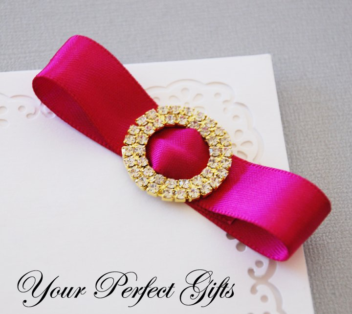 "1 pc Two Row 1-1/8"" ROUND CIRCLE Gold Crystal Rhinestone Buckle Slider Wedding Invitation BK018"