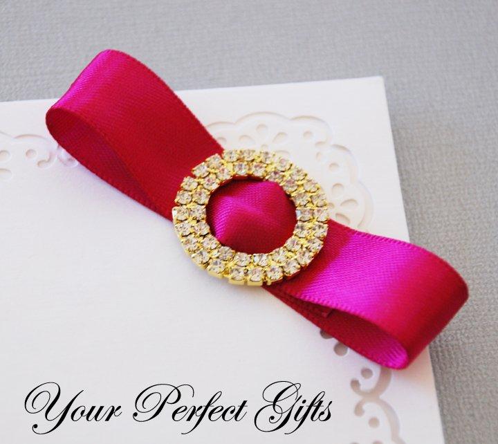 "24 Two Row 1-1/8"" ROUND CIRCLE Gold Diamante Rhinestone Buckle Wedding Invitation BK018"