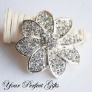 "1 pc 2-1/2"" Flower Rhinestone Crystal Diamante Silver Brooch Pin Jewelry Cake Decoration BR038"