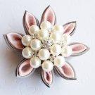50 Round 45mm Diamante Rhinestone Crystal Pearl Button Wedding Invitation Cake Decoration BT068