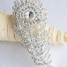 """1 pc 3"""" Peacock Feather Rhinestone Crystal  Diamante Silver Brooch Pin Jewelry Cake Decoration BR012"""