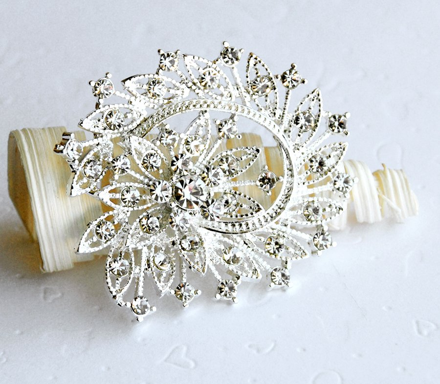 "1 pc 2-3/8"" Flower Rhinestone Crystal Diamante Silver Brooch Pin Jewelry Cake Decoration BR018"