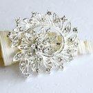"1 pc 2-3/8"" Flower Rhinestone Crystal Diamante Silver Brooch Pin Jewelry Cake Decoration BR018"