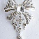 "1 pc 3-1/4"" Bow Shape Rhinestone Crystal  Diamante Silver Brooch Pin Jewelry Cake Decoration BR011"