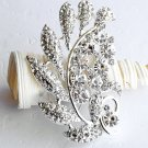 "1 pc 2-3/4"" Fancy Flower Rhinestone Crystal Diamante Silver Brooch Pin Jewelry Cake Decoration BR017"