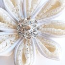 10 Round Diamante 20mm Rhinestone Crystal Button Hair Clip Wedding Invitation BT010