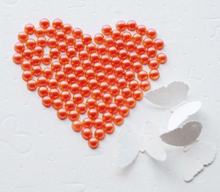 100 Persimmon Hot Orange Round Flat Back Pearl 7mm Wedding Invitation scrapbooking Phone Case LP028