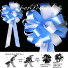 "10 WHITE BABY LIGHT BLUE 8"" WEDDING PULL PEW BOWS FOR BRIDAL CAKE GIFT BASKET DECORCATION"