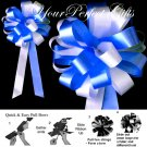 "10 WHITE ROYAL DARK BLUE 8"" WEDDING PULL PEW BOWS FOR BRIDAL CAKE GIFT BASKET DECORCATION"