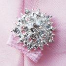 "1 pc Round Diamante 1.25"" (32mm) Rhinestone Crystal Button Hair Clip Wedding Invitation BT060"