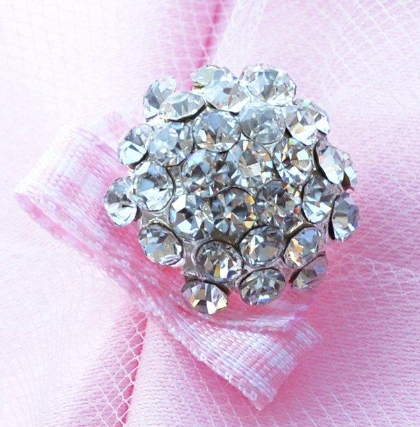 20 pcs Dome Round Diamante Rhinestone Crystal Button Hair Clip Wedding Invitation BT093