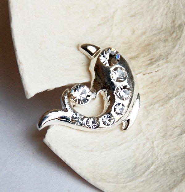 1 pc Dolphin Diamante Rhinestone Crystal Button Hair Clip Wedding Invitation BT076