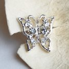 10 pcs Butterfly Diamante Rhinestone Crystal Button Hair Clip Wedding Invitation BT085
