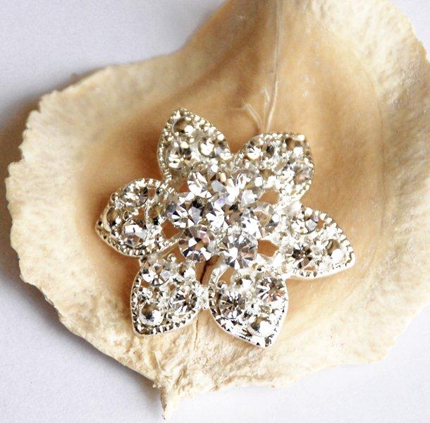 """10 Round Flower 1.2"""" (30mm) Diamante Rhinestone Crystal Button Hair Clip Wedding Invitation BT078"""