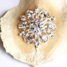 "10 pcs 1-1/8"" (28mm) Round Diamante Rhinestone Crystal Button Hair Clip Wedding Invitation BT094"