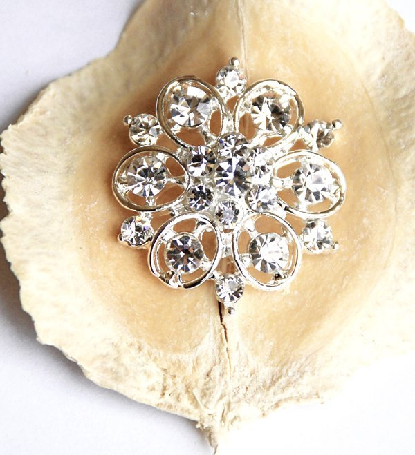 "50 pcs 1-1/8"" (28mm) Round Diamante Rhinestone Crystal Button Hair Clip Wedding Invitation BT094"