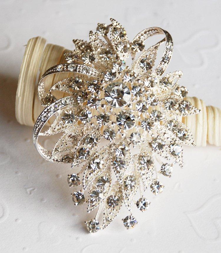 "1 pc 2.75"" Fancy Flower Rhinestone Crystal Diamante Silver Brooch Pin Jewelry Cake Decoration BR063"