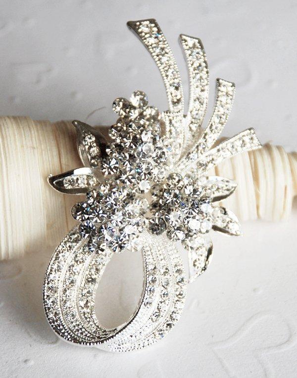 "1 pc 2-5/8"" Rhinestone Crystal Diamante Silver Flower Brooch Pin Jewelry Cake Decoration BR052"