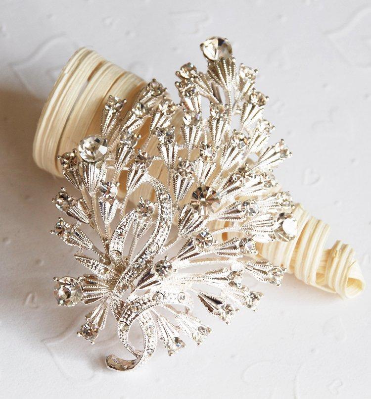 "1 pc 3-1/8"" Rhinestone Crystal Diamante Silver Flower Brooch Pin Jewelry Cake Decoration BR008"
