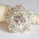 "1 pc 1-3/4"" Rhinestone Crystal Diamante Silver Flower Brooch Pin Jewelry Cake Decoration BR043"