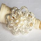"1 pc 1-3/4"" Rhinestone Crystal Diamante Pearl Silver Flower Brooch Pin Jewelry Cake Decoration BR056"