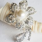 1 pc  Rhinestone Crystal Diamante & Pearl Silver Flower Brooch Pin Jewelry Cake Decoration BR007