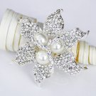 "1 pc 2-3/8"" Rhinestone Crystal Diamante Pearl Silver Flower Brooch Pin Jewelry Cake Decoration BR064"