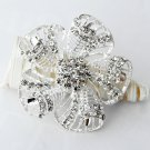 "1 pc 2-3/8"" Rhinestone Crystal Diamante Silver Flower Brooch Pin Jewelry Cake Decoration BR002"