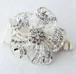 "1 pc 2-3/8"" Rhinestone Crystal Diamante Silver Flower Brooch Pin Jewelry Cake Decoration BR002"