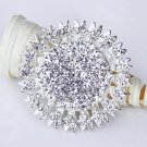 1 pc Rhinestone Crystal Diamante Silver Flower Brooch Pin Jewelry Cake Decoration BR003