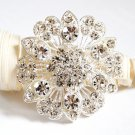 1 pc Rhinestone Crystal Diamante Silver Flower Brooch Pin Jewelry Cake Decoration BR057