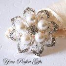1 pc 50mm Flower Rhinestone Crystal  Diamante Pearl Silver Brooch Pin Jewelry Cake Decoration BR015