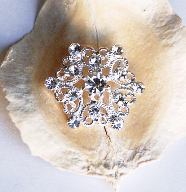 50 pcs 25mm Rhinestone Button Round Diamante Crystal Hair Clip Wedding Invitation BT049