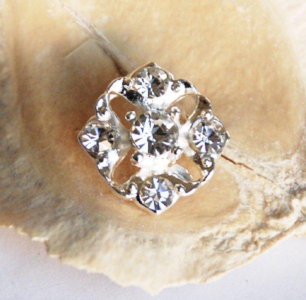 1 pc Rhinestone Button Diamond Square Diamante Crystal Hair Clip Wedding Invitation BT047