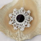50 Rhinestone Button Round Diamante Crystal Jet Black Hair Clip Wedding Invitation BT095