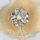 50 Rhinestone Pearl Button Round Diamante Crystal Hair Clip Wedding Invitation BT096