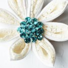 "10 Round Diamante 1.1"" Tiffany Teal Blue Rhinestone Crystal Button Wedding Invitation BT105"