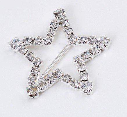 "12  LARGE STAR 1-3/8"" Silver Diamante Rhinestone Ribbon Buckle Slider BK070"