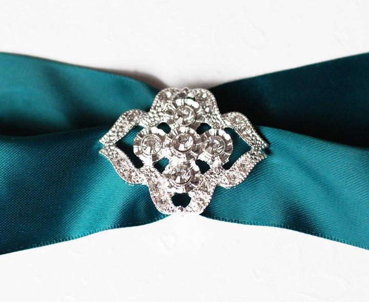 1 pc Fancy OVAL Silver Diamante Rhinestone Crystal Buckle Slider Wedding Invitation BK114