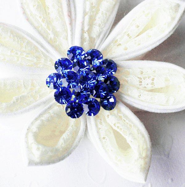 """1 pc Round Diamante 1.1"""" Dark Sapphire Blue Rhinestone Crystal Button Wedding Invitation BT109"""