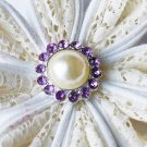 10 Rhinestone Pearl Button Light Lavender Purple Crystal Hair Flower Clip Wedding Invitation BT119